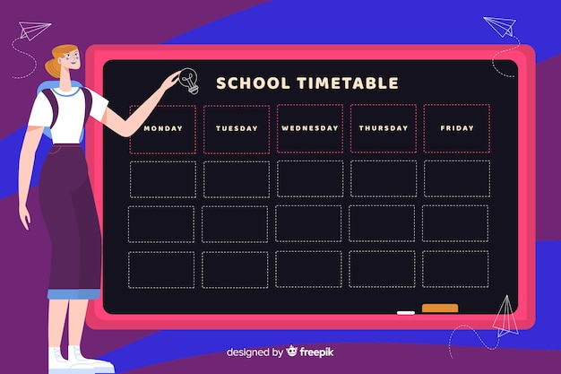 Modèle de planificateur hebdomadaire emploi du temps scolaire avec caractère enseignant