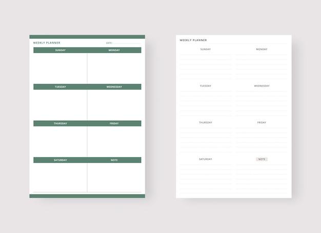 Modèle de planificateur hebdomadaire ensemble de planificateur et liste de tâches
