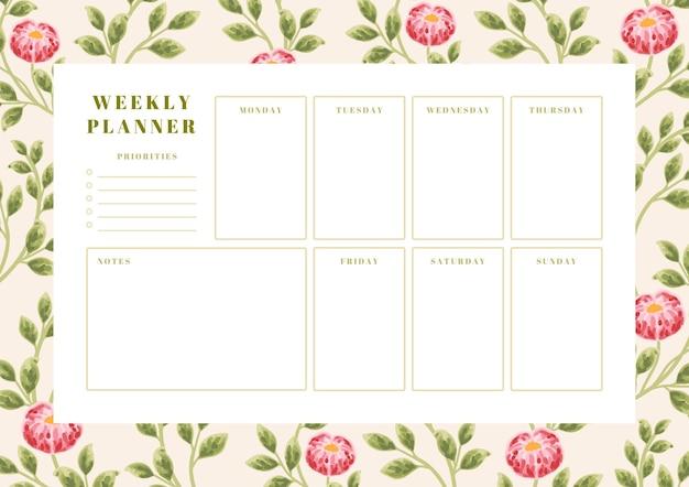 Modèle de planificateur hebdomadaire de fleur de pivoine vintage