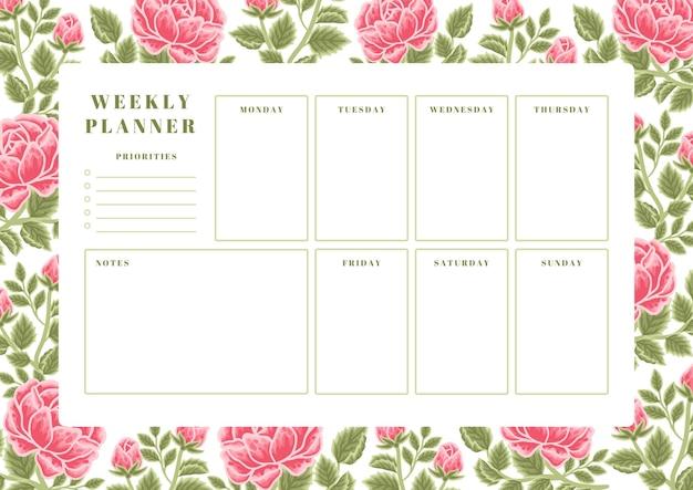 Modèle de planificateur hebdomadaire de fleurs roses d'été vintage