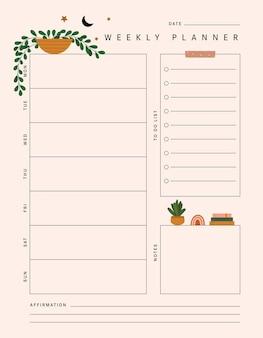 Modèle de planificateur hebdomadaire de plantes en vecteur avec des plantes pour les notes