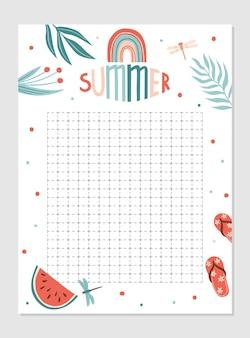 Modèle de planificateur hebdomadaire et quotidien calendrier avec notes et liste de tâches avec articles d'été