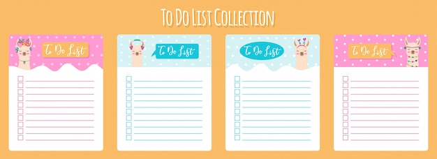 Modèle de planificateur hebdomadaire et quotidien scandinave avec lama mignon. organisateur et calendrier avec notes et liste de tâches.