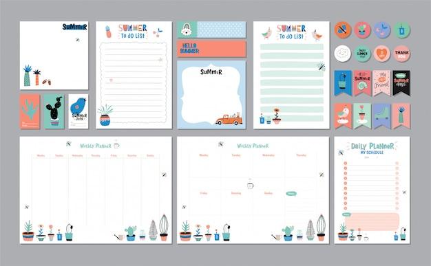 Modèle de planificateur hebdomadaire et quotidien scandinave. organisateur et calendrier avec notes et liste de tâches. . . concept d'été de vacances branché avec éléments graphiques