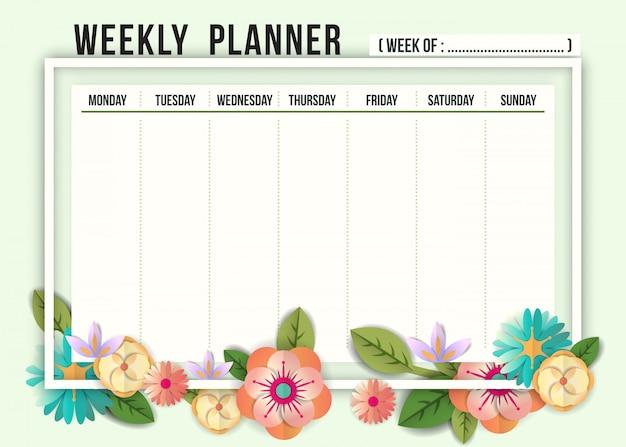 Modèle de planificateur d'horaire hebdomadaire avec des fleurs