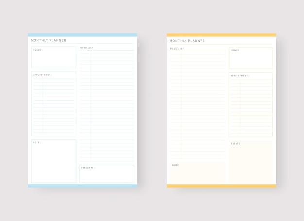 Modèle de planificateur mensuel ensemble de planificateur et liste de tâches