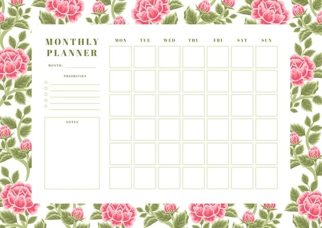 Modèle de planificateur mensuel de fleur de rose d'été vintage
