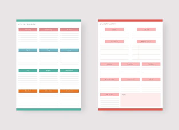 Modèle de planificateur mensuel et hebdomadaire ensemble de planificateur et liste de tâches