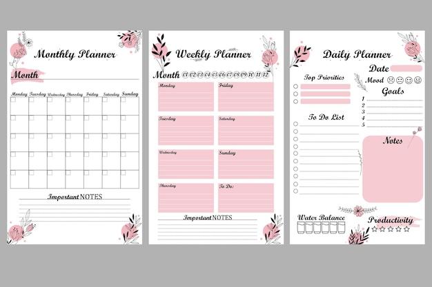 Modèle de planificateur mensuel hebdomadaire quotidien mignon et simple à imprimer liste de choses à faire fleurs simples