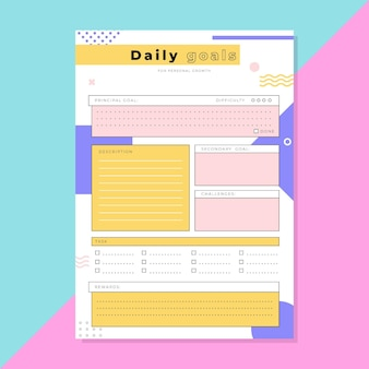 Modèle de planificateur d'objectifs quotidiens