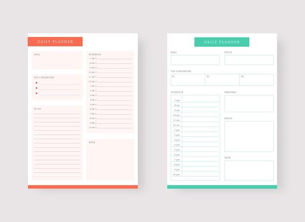 Modèle de planificateur quotidien ensemble de planificateur et liste de tâches