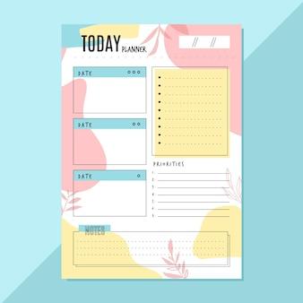 Modèle de planificateur quotidien avec feuilles