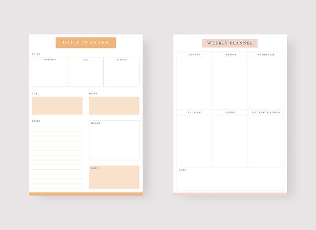 Modèle de planificateur quotidien et hebdomadaire ensemble de planificateur et liste de tâches ensemble de modèles de planificateur moderne