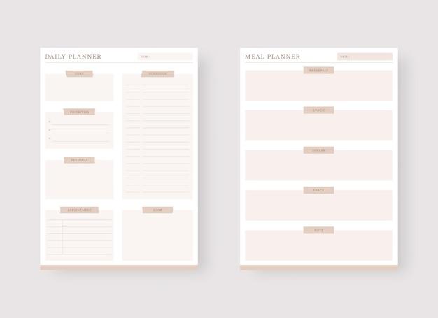 Modèle de planificateur quotidien et de repas ensemble de modèles de planificateur moderne