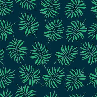 Modèle de plante modèle sans couture avec des feuilles de palmier et des branches illustration tropicale de vecteur stock