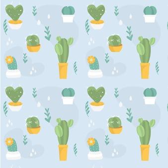 Modèle de plantes de cactus différentes de couleur vintage