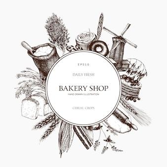 Modèle de plantes fraîches et biologiques de ferme. couronne de plantes de céréales et légumineuses esquissée à la main. boulangerie vintage