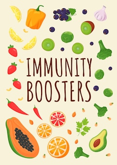 Modèle plat d'affiche de boosters d'immunité