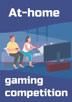 Modèle plat d'affiche de compétition de jeux à domicile. couple passe du temps ensemble.