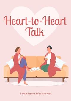 Modèle plat d'affiche de conversation de coeur à coeur. amis parlant assis sur un canapé.