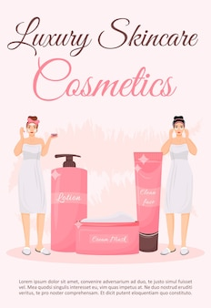 Modèle plat d'affiche de cosmétiques de luxe pour la peau. produits de soins de la peau. brochure, conception de concept d'une page de livret avec des personnages de dessins animés. dépliant, dépliant sur les procédures de traitement de la peau