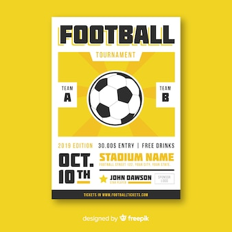 Modèle plat d'affiche de football