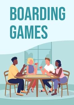Modèle plat d'affiche de jeux d'embarquement. amis jouant ensemble à la maison.