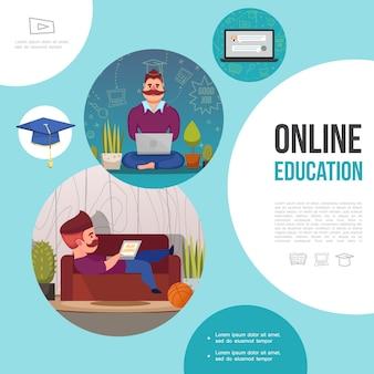 Modèle plat d'apprentissage en ligne avec des hommes qui étudient sur un ordinateur portable à la maison, cahier et casquette de graduation