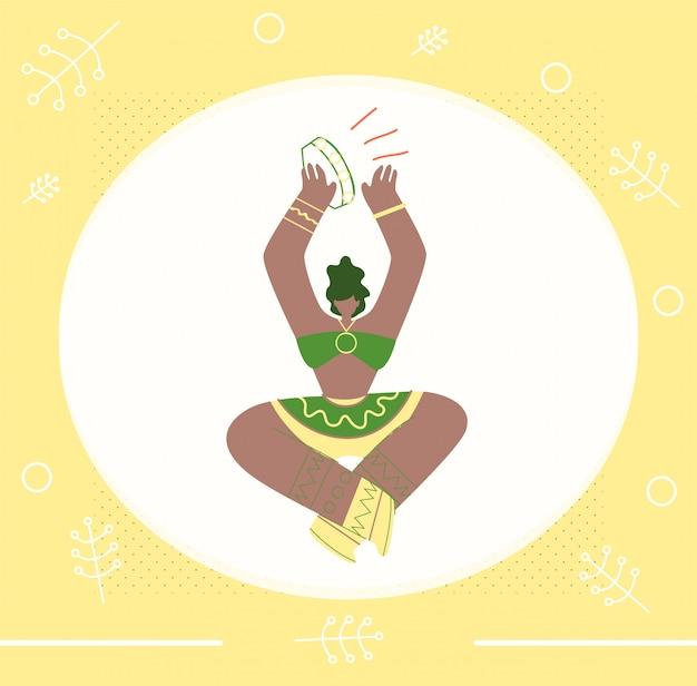 Modèle plat bannière bannière invitation de musique tribale