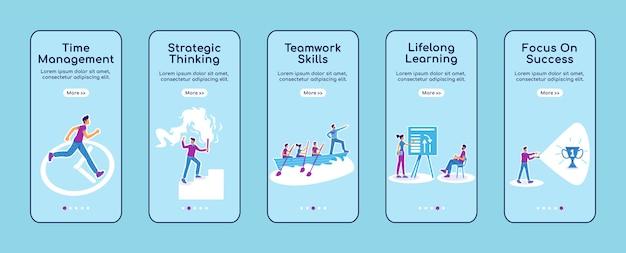 Modèle plat d'écran d'application mobile d'intégration de coaching de carrière. formation en développement des affaires. procédure pas à pas du site web avec des personnages. ux, ui, interface de dessin animé de smartphone gui, ensemble d'impressions de cas
