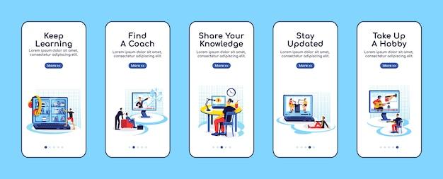 Modèle plat d'écran d'application mobile d'intégration de l'éducation en ligne. restez à jour. partager le savoir. procédure pas à pas du site web avec des personnages. ux, ui, interface de dessin animé de smartphone gui, ensemble d'impressions de cas