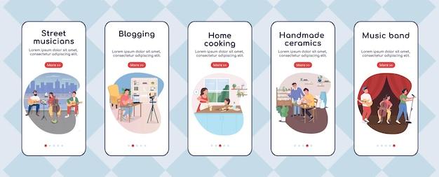 Modèle plat d'écran d'application mobile d'intégration de passe-temps créatif
