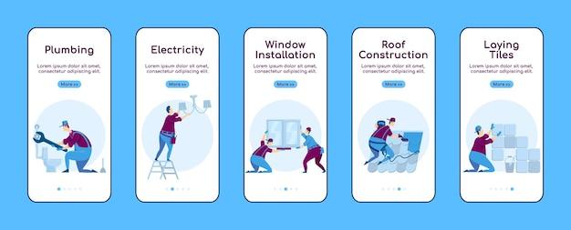 Modèle plat d'écran d'application mobile d'intégration de réparation à domicile