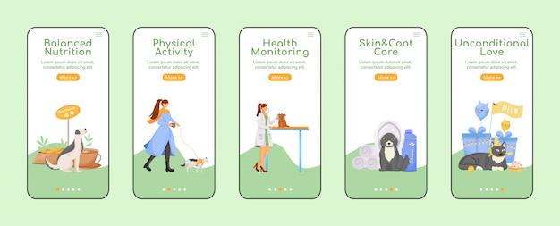Modèle plat d'écran de l'application mobile d'intégration des soins pour animaux de compagnie