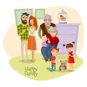 Modèle plat de famille heureuse