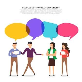 Modèle plat avec les gens parlent avec bulle de message ballon.