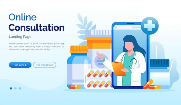 Modèle plat d'illustration de site web de page de consultation en ligne
