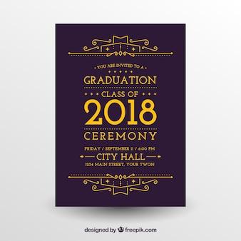 Modèle plat de l'invitation de graduation