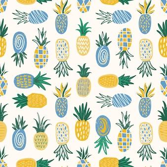 Modèle plat sans couture avec des ananas de texture variée sur blanc