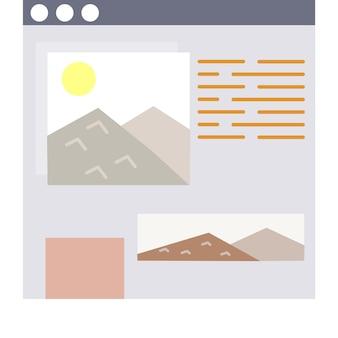 Modèle plat de site web d'icône de fenêtre web de vecteur