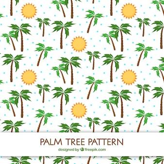 Modèle plat de soleils et de palmiers