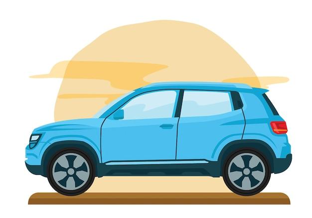 Modèle plat de voiture mini van famille vector
