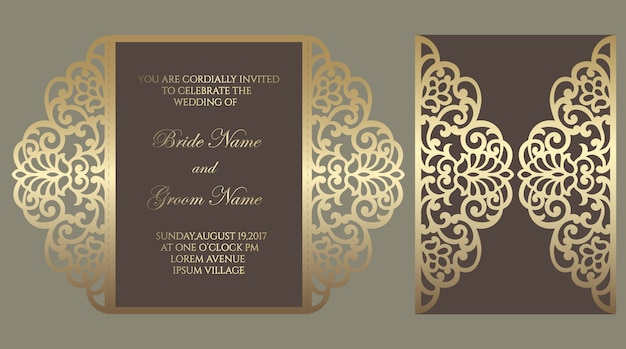 Modèle de pli de porte découpé au laser orné. conception d'enveloppe d'invitation de mariage.