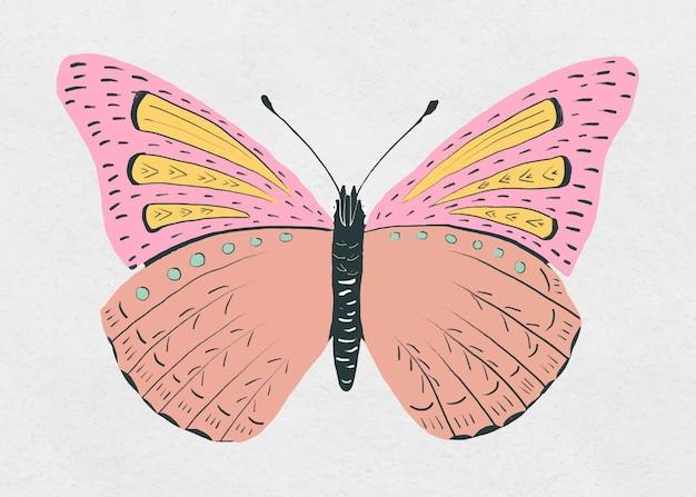 Modèle de pochoir papillon vintage dessiné à la main