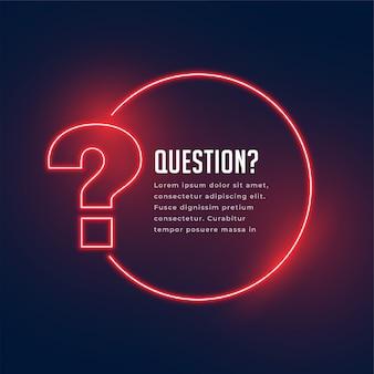 Modèle de point d'interrogation de style néon pour aide et support
