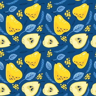 Modèle avec des poires jaunes avec des feuilles sur fond bleu classique