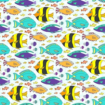 Modèle de poissons doodle vector. texture transparente marine dessinés à la main. tissu swatch ou textile pour enfants