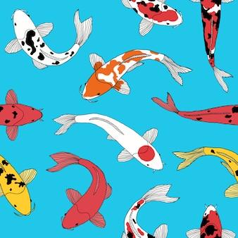 Modèle avec des poissons koi