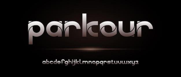 Modèle de police abstrait alphabet futuriste moderne