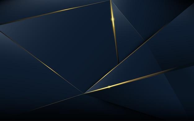 Modèle polygonal abstrait luxe bleu foncé avec de l'or